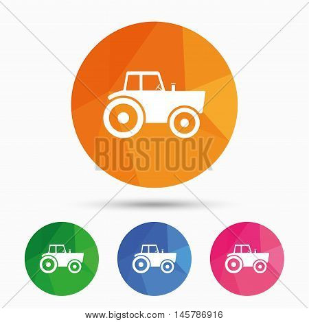 Tractor sign icon. Agricultural industry symbol. Triangular low poly button with flat icon. Vector