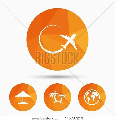 Travel trip icon. Airplane, world globe symbols. Palm tree and Beach umbrella signs. Triangular low poly buttons with shadow. Vector