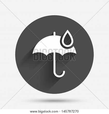 Umbrella sign icon. Water drop symbol. Circle flat button with shadow. Vector