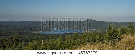 Prisecnice dam in Krusne hory mountains in summer