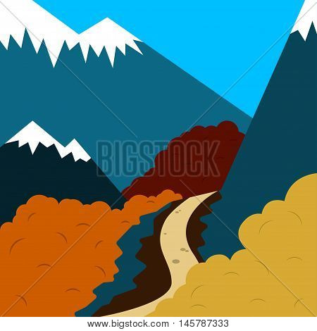 Autumn road Vector illustration Winding mountain road among the mountains and autumn trees