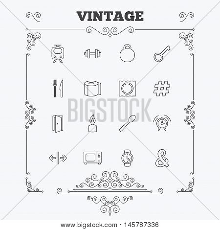 Universal icons. Fitness dumbbell, home key and candle. Toilet paper, knife and fork. Microwave oven. Vintage ornament patterns. Decoration design elements. Vector