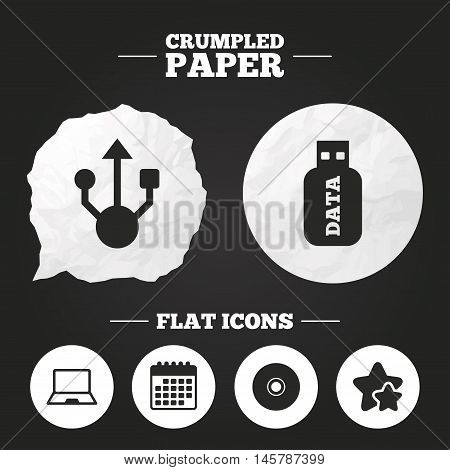 Crumpled paper speech bubble. Usb flash drive icons. Notebook or Laptop pc symbols. CD or DVD sign. Compact disc. Paper button. Vector