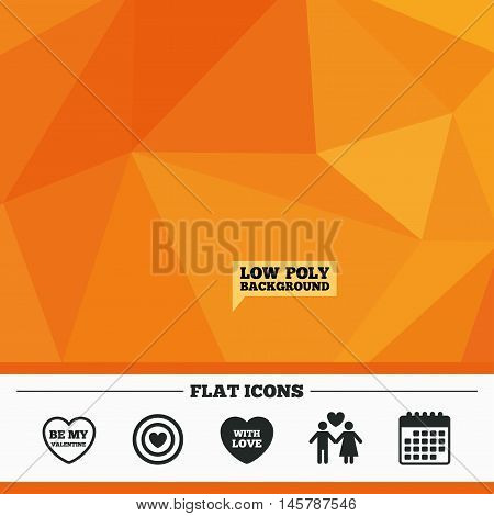 Triangular low poly orange background. Valentine day love icons. Target aim with heart symbol. Couple lovers sign. Calendar flat icon. Vector