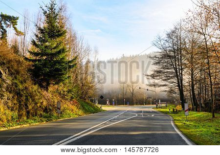 autumn road at sunny day in Germany