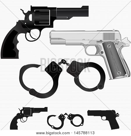 Gun, revolver and handcuffs on white background, pistol and bracelet, vector illustration of criminal arrest, law and punishment