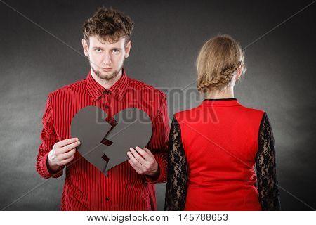 Sad Couple With Broken Heart.