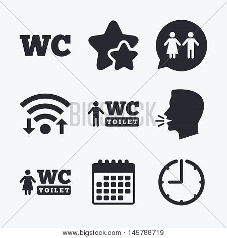 WC Toilet icons. Gents and ladies room signs. Man and woman speech bubble symbol. Wifi internet, favorite stars, calendar and clock. Talking head. Vector