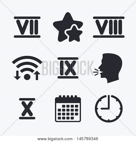 Roman numeral icons. 7, 8, 9 and 10 digit characters. Ancient Rome numeric system. Wifi internet, favorite stars, calendar and clock. Talking head. Vector