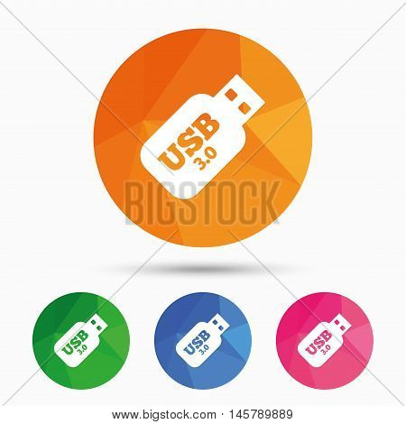 Usb 3.0 Stick sign icon. Usb flash drive button. Triangular low poly button with flat icon. Vector