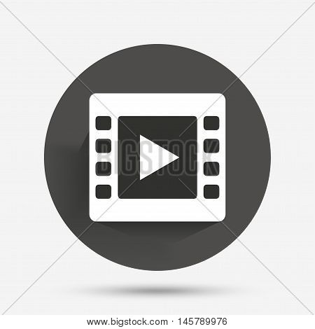 Video sign icon. Video frame symbol. Circle flat button with shadow. Vector