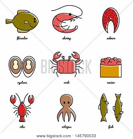 Line art Sea food icon set. Isolated vector illustrations. Infographic elements
