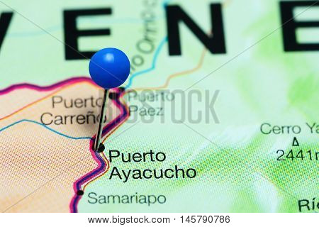 Puerto Ayacucho pinned on a map of Venezuela