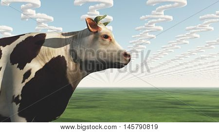 GMO Cow Question 3D Rendered