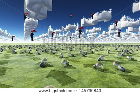 Surreal Scene with men floating in sky above field of light bulbs 3D Rendered
