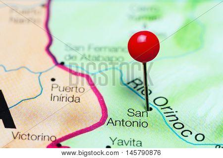 San Antonio pinned on a map of Venezuela
