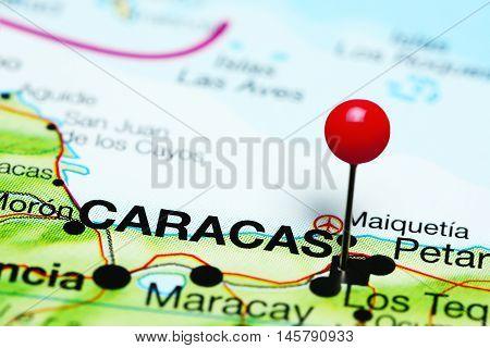 Caracas pinned on a map of Venezuela