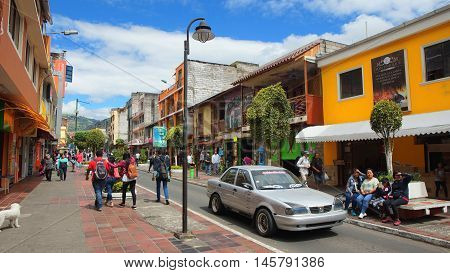 Banos de Agua Santa, Tungurahua / Ecuador - September 2 2016: View of the downtown of the city of Banos. Banos is located on the northern foothills of the Tungurahua volcano