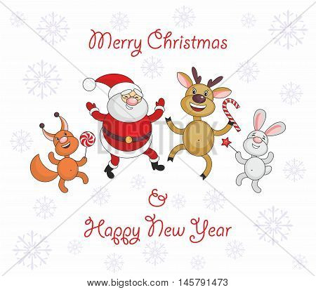 Greeting card merry Christmas and New Year with Santa Claus's image and cheerful animals