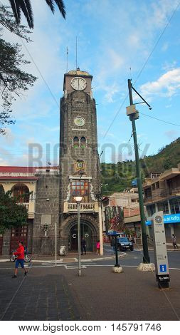Banos de Agua Santa, Tungurahua / Ecuador - September 2 2016: View of the building of the Municipality of the city. Banos is located on the northern foothills of the Tungurahua volcano