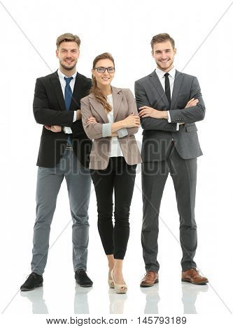 Successful business people looking happy and confident