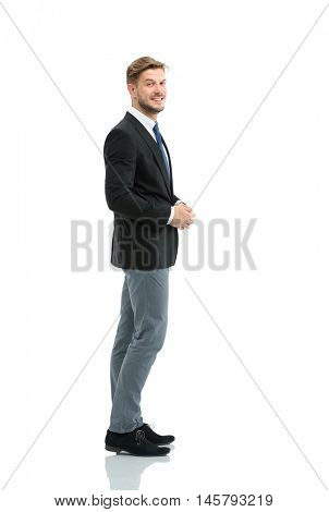 Side view of a smiling businessman, On white background