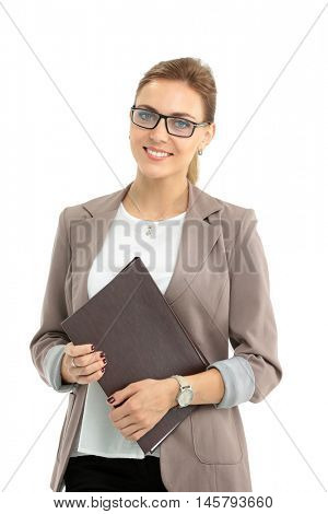 Portrait of young happy smiling businesswoman with  folder, isol