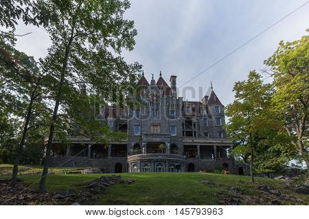 Boldt Castle surrounded by trees in the summer time