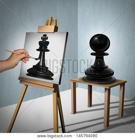 Leadership vision business concept as a chess game pawn being interpreted by a painter who is painting it as a king piece representing potential and motivation to aspire and succeed to a higher level as a 3D illustration.