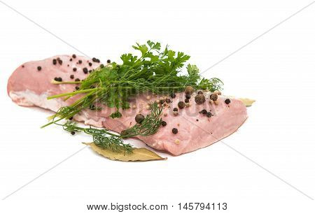 fresh pork fillet on a white background