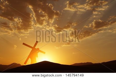 Christ carrying cross up Calvary on Good Friday over bright sky