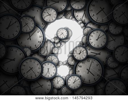Concept of time question or business schedule questions symbol as a group of clocks shaped as a glowing icon for uncertainty as a metaphor for deadline or corporate scheduling confusion or appointment information as a 3D illustration.