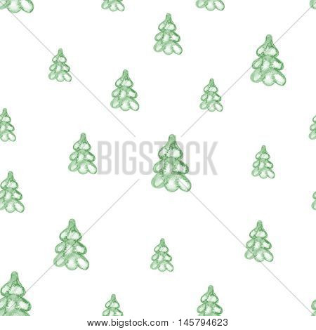 watercolor seamless pattern with Christmas tree for winter holidays design