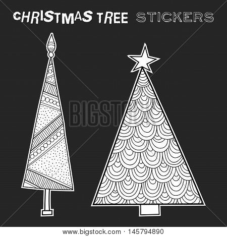 Black and white illustration of decorative Christmas trees. Festive stickers. Vector illustration