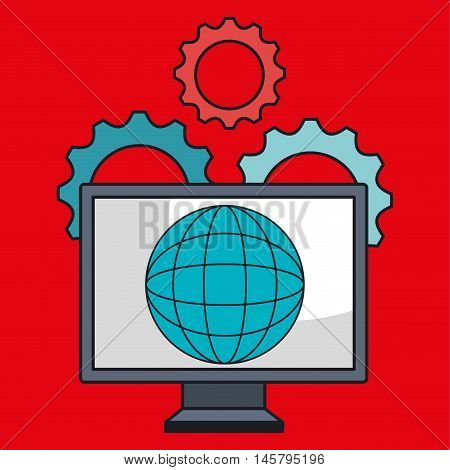 screen pc gears server vector illustration eps10