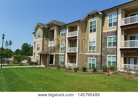 Typical apartment complex buildings in suburban area