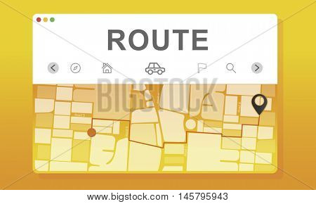 GPS Destination Route Map Graphic Concept