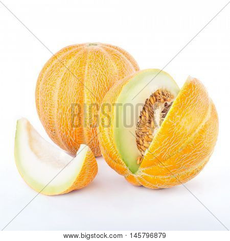 Sliced ripe melon isolated on white background