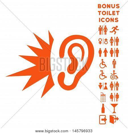 Listen Loud Sound icon and bonus gentleman and woman lavatory symbols. Vector illustration style is flat iconic symbols, orange color, white background.