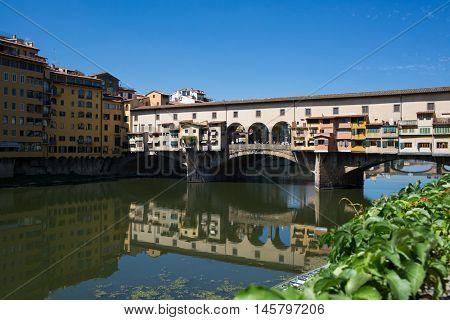 Landscape of Florence, Italy. Bridge Vasari