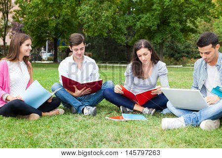 Group of students lying on the grass