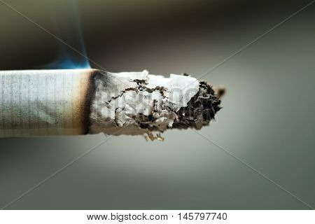 Macro of a burning cigarette