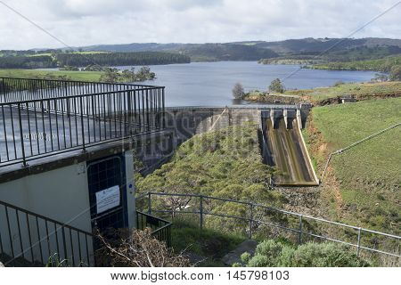 Concrete arch dam with a ski-jump spillway including the viewing platform at the Myponga Reservoir in Myponga South Australia