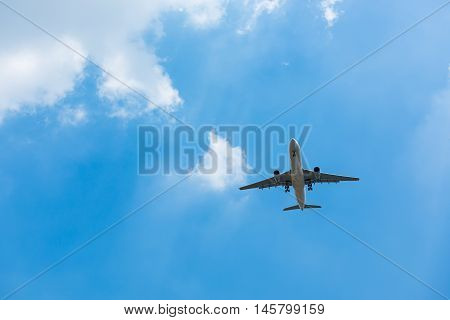 Airplane high speed on the clouds and blue skies.