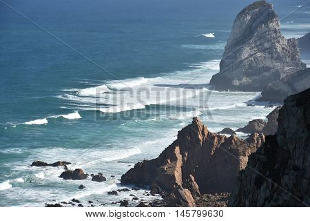View from Roca Cape (westernmost point in continental Europe) in Portugal