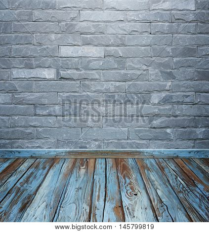 Room Interior With Brick Stone Tiles Wall And Wood Floor Background