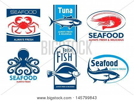 Seafood products tags and emblems. Vector icons for product, company, restaurant label. Graphic symbols of crab, tuna, shrimp, octopus, flounder, fish