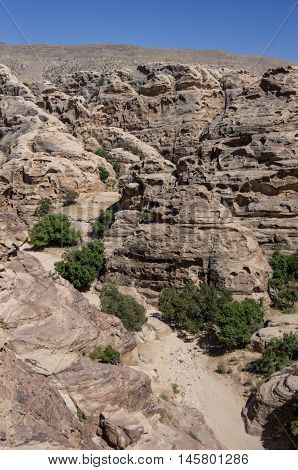 Mountain canyon near Siq al-Barid in Jordan. It is known as the Little Petra.