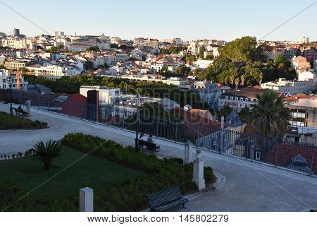LISBON, PORTUGAL - AUG 20: View of Lisbon (from Bairro Alto) in Portugal, as seen on Aug 20, 2016. Lisbon is the capital and the largest city of Portugal.
