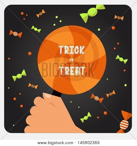 Halloween trick or treat card design card. Vector illustration